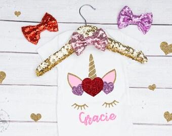 Baby Girls Personalized Heart Unicorn Valentine Onesie, Valentine Unicorn Onesie, Unicorn Outfit, Valentine Outfit, Valentines Shirt