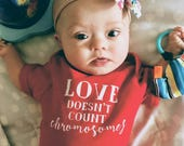 Love Doesn't Count Chromosomes Onesie, Down Syndrome Awareness, Down Syndrome Onesie, Trisomy21 Onesie, T21