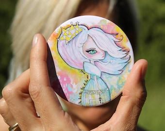 Compact mirror fairy tales princess design, fable mirror, princess handbag pocket mirror