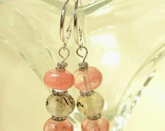 Water Melon Tourmaline Earrings-Handmade Tourmaline Earrings-Semi Precious Tourmaline Earrings-Pink Beaded Earrings-Gifts for Her-UK Made