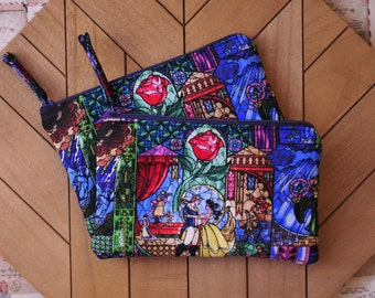 Beauty and the Beast Makeup Pouch, Stained Glass Beauty and the Beast, Cosmetic Bag, Belle's Stain Glass, Velvet, Pencil Case, Gift for her