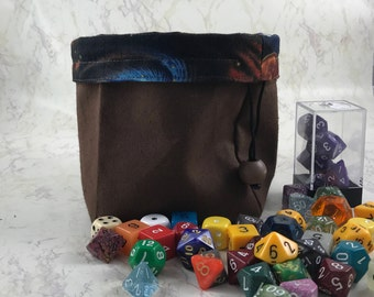 Bag of Holding - Large Bag of Holding - Dice Bag - Made with Brown Canvas/Space Fabric - Large Dice Bag - Cosplay Bag of Holding