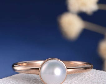SALE US 5.5-6.5 Bezel Set Engagement Ring Pearl Rose Gold Solitaire Akoya minimalist Ring Women Engraved Anniversary Promise Graduation Gift