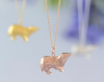 Rose Gold Badger necklace, hand carved design | Sterling silver necklace | Personalised Animal Pendant by Rosalind Elunyd Jewellery