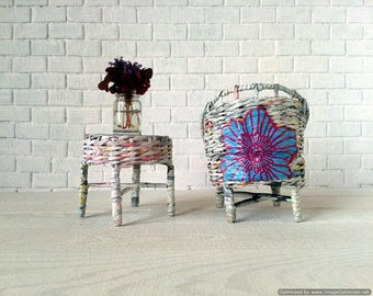 White 1-4 scale ooak furniture. Round weaving, chair and table set.