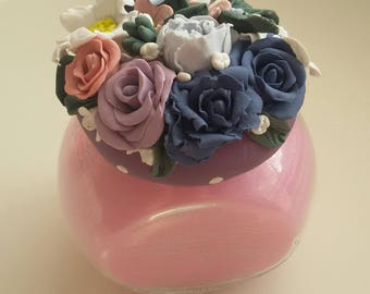 Forest Fruits Scented Candle/Polymer Clay Flowers/Designer Candle/Delicious candle/Perfect Gift Idea for Her/Thank you Gift/Gift for Mum