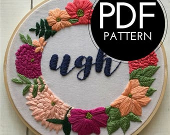digital hand embroidery pattern | ugh design | digital PDF download | embroidery pdf | embroidery pattern