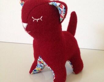 Red Wool Plush Cat