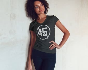 Say No To 45 | Ladies SLIM FIT Anti-Trump No 45 T-Shirt | Political Resistance Impeach Vintage T-Shirt and Clothing