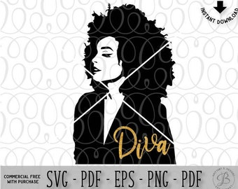 Afro Hairstyle Woman SVG, African American woman svg, Diva SVG, Queen SVG, Natural hair svg, svg files for cricut, svg files