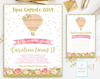 Hot Air Balloon Time Capsule Sign, First Birthday Time Capsule, Pink and Gold Time Capsule + Matching Note Cards, Printable Digital File