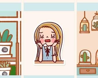 Cute Stress girl Sticker, Cute girl planner sticker, Cute girl bored Sticker, Kawaii girl sticker (HF089)