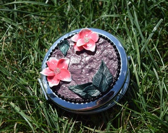 Pocket mirror Silver Flower Pink White and old