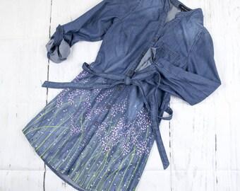 Women's denim dress, hand painted dress, blue dress, flowers on dress, purple lavander, summer dress, gift for her