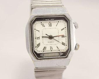 Vintage Square POLJOT SIGNAL Mechanikal ALARM Soviet Era Men's Watch