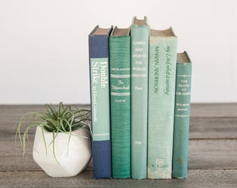 Set of Vintage Turquoise, Green & Blue Old Books, Decorative Books, Seafoam Decor, Antique Book Collection, Ocean Inspired, Aqua Green Books