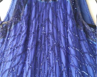 Designer Sequin Gown - Laurence Kazar- NY - Long Royal Blue Sleeveless Dress - Prom Dress