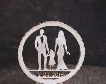 Silhouette cake topper - Wood cake topper - Wedding cake topper - Initials cake topper - Wood slice cake decor - Personalized cake topper