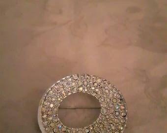 Vintage Silver Tone Swarovski Crystals Brooch - Round Brooch - Wedding Style - 1970s