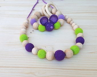 SET Rattle and Nursing necklace Teething necklace Teething toy Teething beads Crochet Mouse Baby rattle wooden beads Organic Amigurumi
