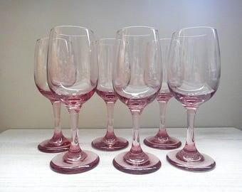 Libbey Plum Pink Rose Wine Glass, Set of 6, Premier Pattern Plum White Wine Glasses, Vintage Barware, Vintage Stemware Goblet