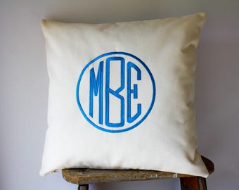 Monogrammed Pillows, Personalized Pillows, Monogrammed Gift, Circle Monogram Pillow Covers, Name Pillows, Name Initial Pillows, Word Pillows