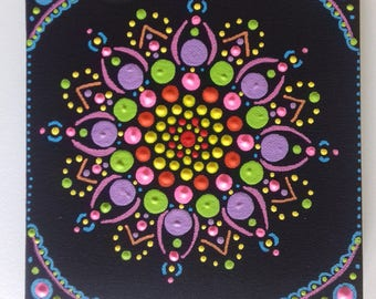 Psychedelic Mandala, original art, acrylic on canvas, hippy, boho art, gift , original painting