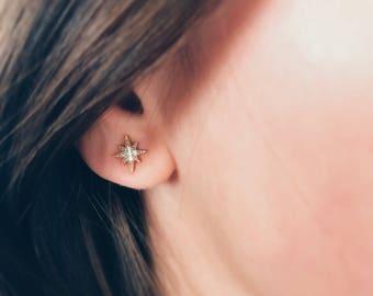 Star Studs Earrings|Tiny Crystal Studs|Everyday Earrings|Gold Star Earrings|Minimal Earrings|Dainty Earrings|Stud Earrings|Star Earrings|