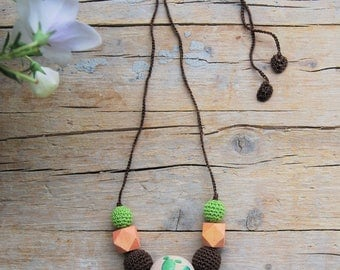 Lactation Necklace | Cactus Lactation Necklace | Wood and Cotton Beads | Birth Gift Idea