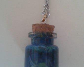 """Water marble bottle"" pendant"