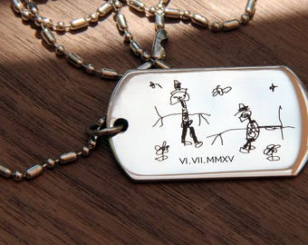 Personalized Dog Tag Necklace, Custom Mens Jewelry, Personalized Daddy Necklace Fathers Day Gift