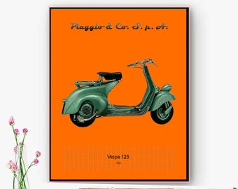 Poster printing Moto Vespa 125, decoration wall, office, space, gift father. Wall art. Christmas, Online poster.