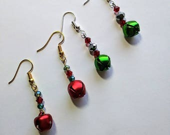 Red and Green  Christmas Jingle Bell Earrings