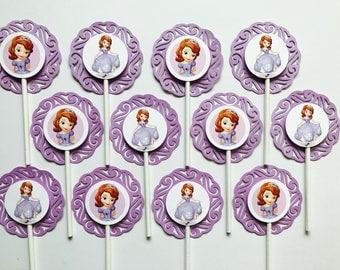 "12 SOFIA the FIRST Cupcake Topper - Party Picks - DISNEY - purple - (2.5"" diameter)"