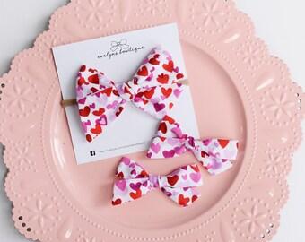 Valentines Day Bow Bright Hearts | nylon baby headband, baby hair bows, baby headband, baby girl gift, baby bows, baby headband set,