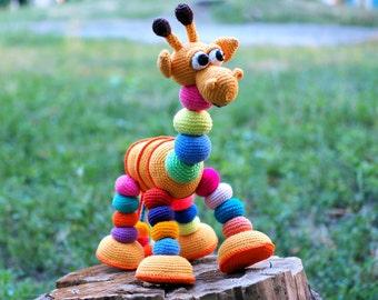 Large crochet giraffe, amigurumi giraffe, soft plush toy giraffe stuffed animal, baby gifts 1st birthday gift for girl, Interior toy toddler