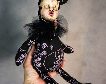 Creepy art doll, rag doll, art doll, OOAK doll, collectible dolls, gothic dolls, cloth dolls