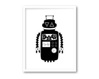 Black and white print, Nursery decor, Black white boys nursery, printable robot, Black and white baby boy decor, INSTANT DOWNLOAD, Robot art