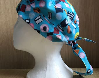 Surgical Theatre Scrub Hat/Cap One Size, Tie Back, Liquorice Allsorts, Sweets Blue