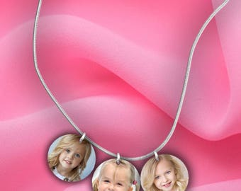 3 Custom Photo Charm Necklace