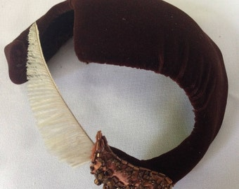 Brown Velvet Widows Peak Hat by Reggi of Wilshire