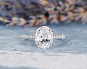Oval Cut White Topaz Engagement Ring White Gold Birthstone Wedding Bridal Anniversary Promise Ring Gift for Her Women Halo Diamond Eternity