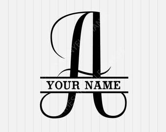 A Split Monogram SVG - Split letter A Svg - Divided Initial Svg - INSTANT DOWNLOAD - 1-Dxf, Eps, Pdf, Png, Svg - Cricut - Silhouette