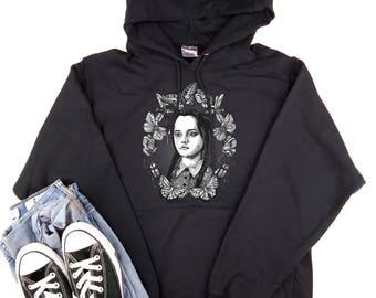 WEDNESDAY ADDAMS - hoodie sweater, goth, Addams Family, pastel goth, horror, munsters, dracula, kawaii, grunge, movie monsters