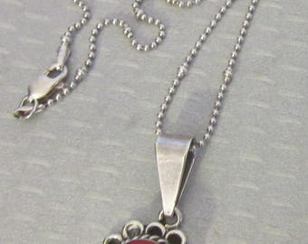 """vintage 925 Mexico sterling silver RED CORAL PENDANT necklace 16"""" chain"""