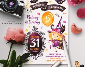 Halloween Birthday Invitation, Costume party invitation, Halloween Invites, Halloween Party, Trick or treat Invitation, 2 options, DIGITAL