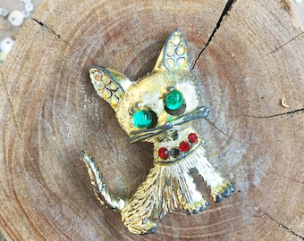70s ADORABLE Gold tone Kitty Brooch with Rhinestones!