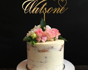 Custom Wedding Cake Topper with your Last Name, Custom Personalized Wedding Cake Topper, Mr and Mrs Cake Topper, Wedding Cake Topper