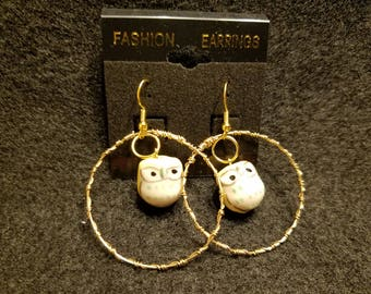 Yellow Owl Hoop Earrings