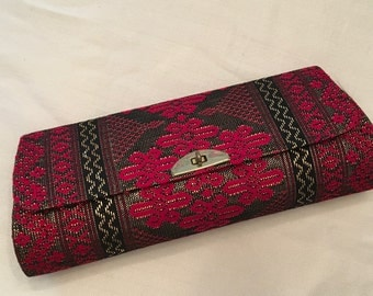 Red Black and Gold Brocade Evening Bag